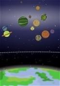 Billiárd-szerű ügyességi játék bolygókkal és holdakkal!