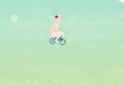 Biciklizz a jeges tájakon, kissé lengén öltözve.